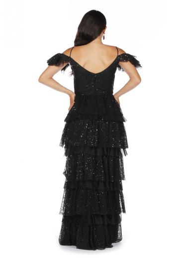 Pierre Cardin Simli Piliseli Uzun Abiye Elbise Siyah